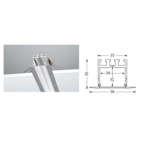Profilés LED Aluminium encastré plafond double